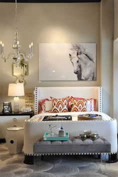 bedroom - love the photo of the #horse above the bed. great headboard too.