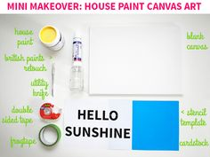 Mini Makeover: House Paint Canvas Art on Style for a Happy Home // Click for DIY