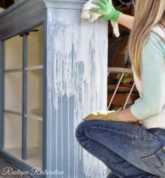 How to create a white top glaze and technique for applying. French Country Hutch revamp from Rustique Restoration: