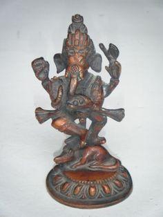 Vintage Hindu God GANESHA Traditional Indian Statue Brass Elephant God Rare #608