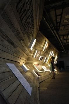 Reclaimed wooden walls + light boxes