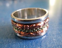 RING  - SPINNING -  spinner  - TRIPLE  -  Wide - Bands - Carved  -Three Tone - 925 - Sterling Silver - Size 7  spinner216 by MOONCHILD111 on Etsy