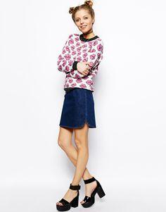 ASOS A-Line Denim Skirt with Dolphin Hem