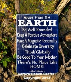 Cute Home Decor, Wall Hanger, Nature, Advice From The Earth, Hand Painted Wood Sign, No Vinyl, Reclaimed Wood