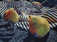 Pears and Blackberries by Chris Krupinski Watercolor ~ 22 x 30