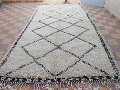 Vintage Beni Ourain Moroccan Rug - 12.25ft  x 6.25ft - Large Moroccan Rug -100% Wool - Berber Rug -Beniouarain- Beniourain -Beni Ouarain by MoroccanPopDecor on Etsy https://www.etsy.com/listing/207728965/vintage-beni-ourain-moroccan-rug-1225ft