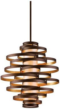 Vertigo Large Pendant Light / hand-crafted iron, bronze/gold leaf finish - I feel like a tube pendant from Ikea, some embroidery hoops and some spray paint would make this
