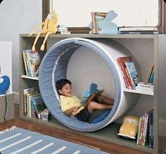 Fun idea that can be dressed up as a space worm hole or a rabbit hole, centre of. Fun idea that can be dressed up as a space worm hole or a rabbit hole, centre of a flower, any number of ideas to bring a reading nook into playroom. Kids Corner, Toy Rooms, Kids Room Design, Kids Bedroom Designs, Kid Spaces, Small Spaces, Kids Furniture, Antique Furniture, Library Furniture