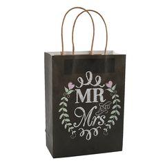 Mr. & Mrs. Chalkboard Wedding Gift Bags - OrientalTrading.com