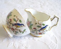 Vintage Aynsley China Sugar and Cream Set, Pembroke Pattern, Birds and Blossoms by TheWhistlingMan on Etsy