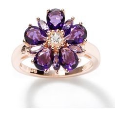 Simply Vera Vera Wang 14k Rose Gold Over Silver Crystal Flower Ring ($113) ❤ liked on Polyvore