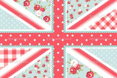 Cute British Flag in Shabby Chic floral style — Stock Vector ...