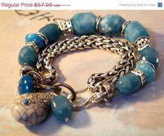 chunky chain bracelet charm bracelet blue bracelet by molliecarey