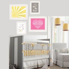 Baby girl nursery art Yellow and Gray decor Pink by YassisPlace