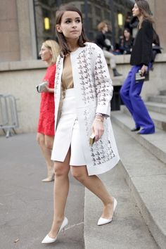 "must-have-outfits: "" love that houndstooth cutout jacket "" Miroslava Duma Paris Fashion Week "" "" Work Fashion, Fashion Week, Modest Fashion, Paris Fashion, Fall Fashion, Style Fashion, Fashion Ideas, Womens Fashion, Fashion Tips"