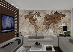 Mapa-múndi Decorativo Tijolos #mapa #mapaemadesivo #decoração #leandroselister
