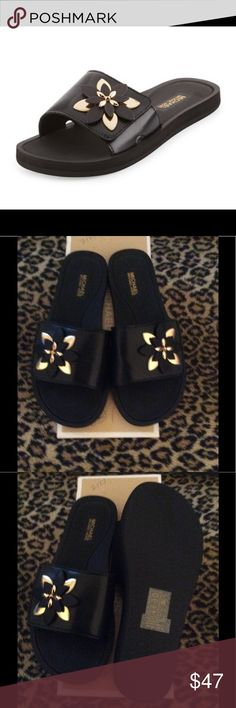 """Michael Kors Heidi Floral Slide MICHAEL Michael Kors Heidi Floral Slide Sport Sandal.  Leather Sandal with Floral Appliqué.  1"""" Flat Heel.   Slide on style, Open Toe, Grip Strap Bands and Cushioned Foot Bed. Rubber Outsole.  New in original box.  Size 7M MICHAEL Michael Kors Shoes"""
