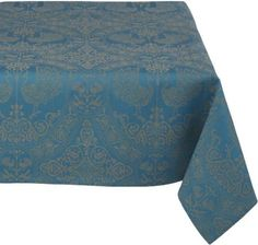 Amazon.com: Mahogany Peacock 60-Inch by 120-Inch Teal Tablecloth, Cotton Jacquard: Home & Kitchen