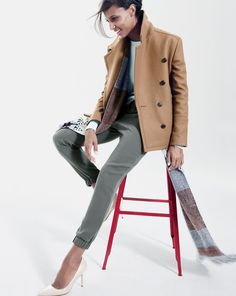 love the colors!  J.Crew women's melton cropped peacoat, Turner pant, and fair isle stripe scarf.
