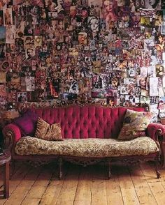 I would love to have a collage wall & have it look this chic & adult. Perhaps the dramatically sophisticated furniture in contrast to the wall is what makes it so.