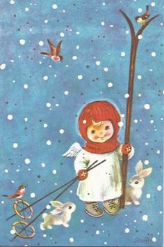 Vintage Christmas Greeting Card by Brownie - Angel with skis rabbits EB2249