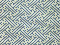 Bhutan Lattice Fabric A white linen cotton fabric printed with a cornflower blue lattice design