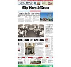The front page of The Herald News for Saturday, July 6, 2013.