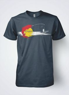 Original wearable art piece, Colorado state flag the way it should be. Fly fisherman will look fly sporting this fishing tee with the best fit and feel