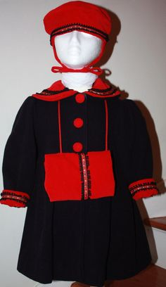 f6cb11af0 VTG Rothschild Nautical Style Wool Coat - Three Piece Navy and Red Set -  Velvet Hat and Muff, Wool Coat with Red Velvet Trim and Braid - 3T