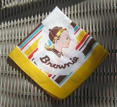 Vintage Brownie Girl Scout Hankie / 1950s by littlextrasthatcount