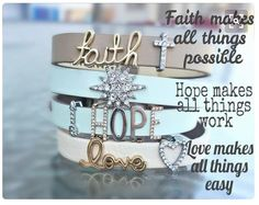 Faith, hope, and love. Create your own personalized KEEPer. Facebook.com/cmtucker12 • keep-collective.com/with/carrietucker #faith #hope #love #bracelets #pave #armcandy
