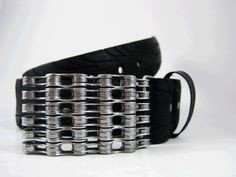 Recycled Bike Chain Belt Buckle Silver Sparkle by RhythmicMetal, $40.00