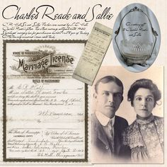 Charles Reade and Sallie ~ if you are lucky enough to have your ancestor's documents, scrap copies of them along with their portrait and stories for a great genealogical page.