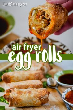 asian recipes Make crispy homemade egg rolls in an air fryer! It is easy to make air fryer egg rolls at home without the mess and hassle of deep frying. These takeout favorites are crispy on the outside and filled tasty pork and cabbage. Air Fryer Oven Recipes, Air Frier Recipes, Air Fryer Dinner Recipes, Appetizer Recipes, Appetizers, Air Fryer Egg Roll Recipe, Deep Fryer Recipes, Asian Recipes, Healthy Recipes