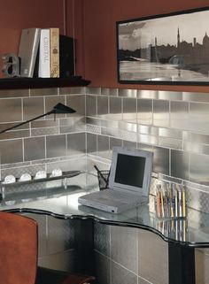 sleek work space surrounded by Crossville's Stainless Steel tile