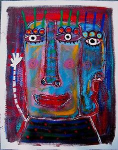 Tracey Ann Finley Original Outsider Raw Brut Art Painting