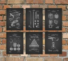 Billiards Patent Prints Set Of 6 - Billiard Inventions - Billiards Wall Art Poster - Billiards Room Patent - Pool Room Patent Poster  This billiard poster set is printed using high quality archival inks on archival paper with a smooth matte finish. A fantastic gift or a fabulous addition to your home!  Please choose between different colors and sizes.  ---------------------------------------------------------------------------------------------  FLAT RATE SHIPPING: Any additional prints in…