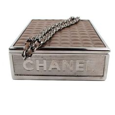 Chanel Cigarette Clutch Minaudie Box Brown Leather Case Silver Chain... ($1,299) ❤ liked on Polyvore featuring bags, handbags, clutches, brown purse, wristlet clutches, wristlet purse, silver clutches and silver wristlet