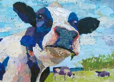 Holstein cow collage art painting – Cow Art and More