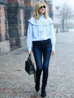 Frilled Blouse + Skinny Jeans On Marie Hindkær Wolthers: H&M shirt; Boyy bag; Acne Jensen Boots