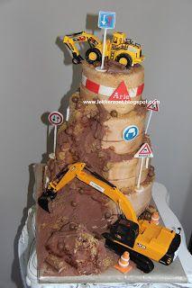 lekker zoet: Graafmachine taart voor Arie en zn familie als ver...