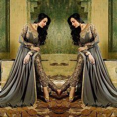 Actress Malaika Arora Khan looks gorgeous in this uber-chic Malaika Grey #PantStyleAnarkali from the latest #SalwarKameez collection of #Lashkaraa.com priced $135.00 USD