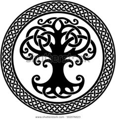 Vector ornament, decorative round Celtic tree of life with circular celtic border Celtic Horse Tattoo, Celtic Tattoos, Tree Of Life Images, Tree Images, Celtic Patterns, Celtic Designs, Celtic Border, Tree Tattoo Designs, Celtic Tree Of Life