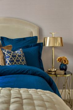 Amara | Luxe Collection | #AmaraAW16 | Bedroom Inspiration | Bold blue bedding paired with luxurious patterned pillows take glamorous to a whole new level!