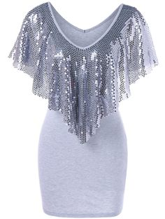 Sequined Trim Overlay Mini Dress - LIGHT GRAY L