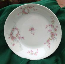Half Price Haviland Sale - Antique Haviland Limoges Shallow Soup Bowl Schleiger 342 - Roses And Ribbons - C