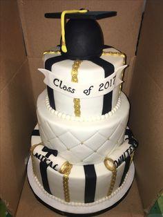 Black And Gold Graduation Cake Graduation Cakes