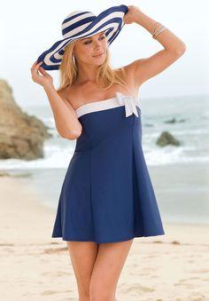 Plus Size Swimdress with White Side Bow   Plus Size Swimwear   Roamans