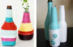We want to share ideas how to make a vases out of a glass bottle. You can transform an ordinary bottle as a couple of minutes. Bead Bottle, Bottle Art, Old Bottles, Glass Bottles, Painted Bottles, Yarn Wrapped Bottles, Bottle Painting, Thread Work, Interior Decorating