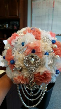 Coral and Navy brooch bouquet